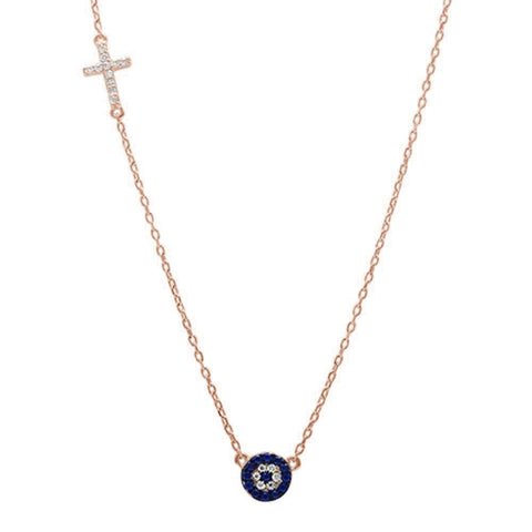 Rose Gold Plated Blue Sapphire & Cz Evil Eye .925 Sterling Silver Necklace