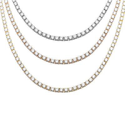 "3MM Available 3 Colors 13.50CT Round Cubic Zirconia Necklace .925 Sterling Silver 17"",20"",26, 28 & 30"" Long"