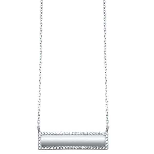 Trendy! CZ Engraveable Bar Engraveable .925 Sterling Silver Necklace