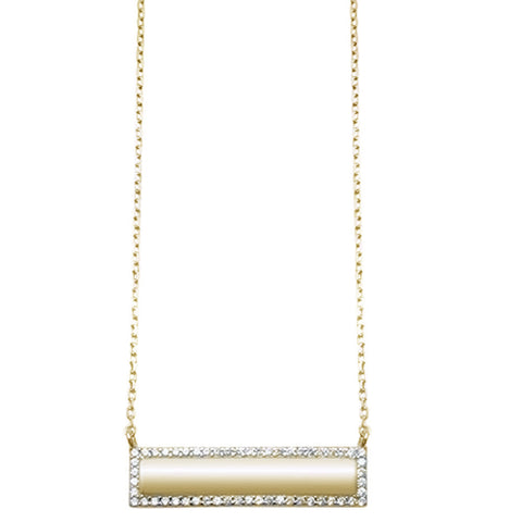 Trendy! Yellow Gold Plated CZ Engraveable Bar Engraveable .925 Sterling Silver Necklace