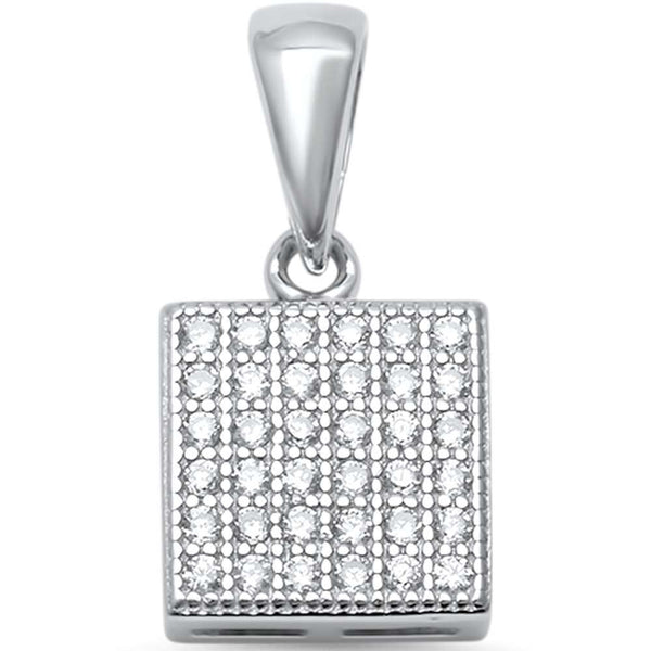 Square with CZ .925 Sterling Silver Pendant