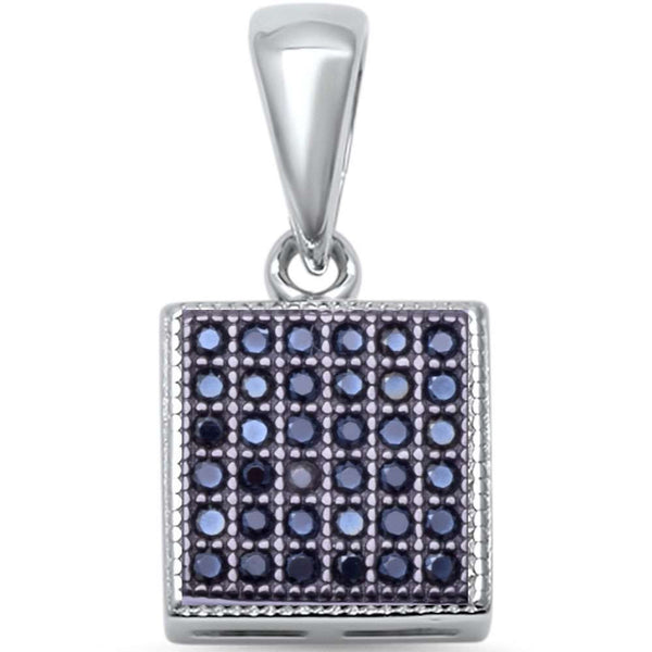 Micro Pave Square Solitaire .925 Sterling Silver Pendant