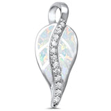 White Opal Cz Leaf .925 Sterling Silver Pendant