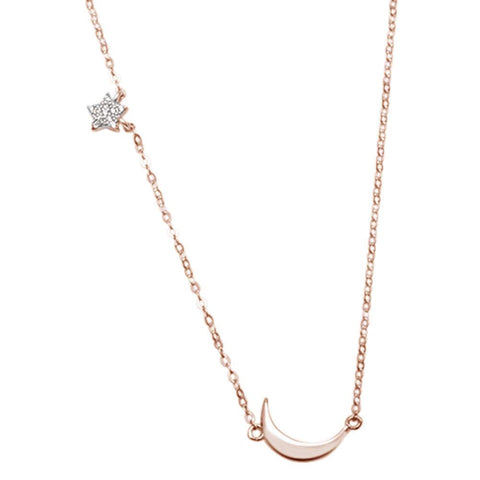 Rose Gold Plated Star Moon Celestial Trendy .925 Sterling Silver Necklace