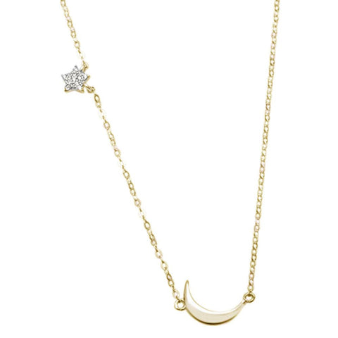 Yellow Gold Plated Star Moon Celestial Trendy .925 Sterling Silver Necklace