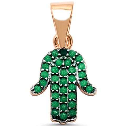 Rose Gold Plated Emerald Hand of Hamsa Charm .925 Sterling Silver Pendant