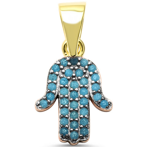 Yelllow Gold Plated Turquoise Hand Hamsa Evil Eye Charm .925 Sterling Silver Pendant