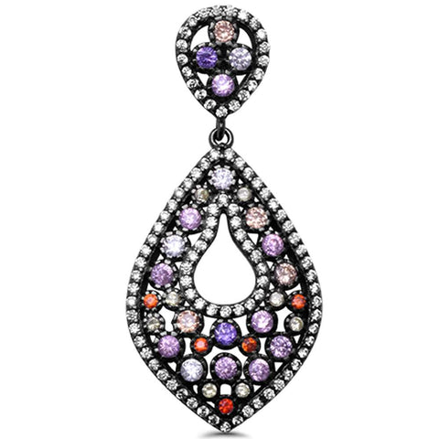 Fine Black Rhodium Plated Multi Gemstone .925 Sterling Silver Pendant 1.5""