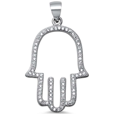 Trendy! Cubic Zirconia Hand of Hamsa .925 Sterling Silver Pendant 1.4""