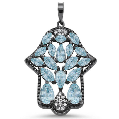 Black Plated Aquamarine & Cz Gemstone  Hand of Hamsa .925 Sterling Silver Pendant