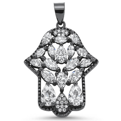 Black Plated Cubic Zirconia Gemstone Hand of Hamsa .925 Sterling Silver Pendant