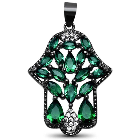 Black Plated Elegant! Emerald Hand of Hamsa .925 Sterling Silver Pendant 1.3""