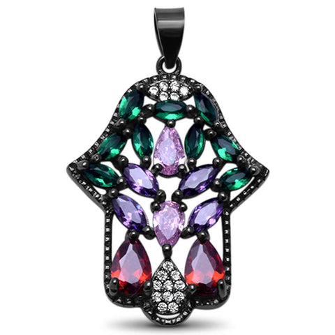 Black Plated Multi Gemstone Hand of Hamsa .925 Sterling Silver Pendant 1.3""