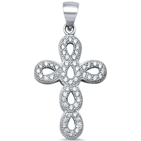 Cubic Zirconia Infinity Cross .925 Sterling Silver Pendant 1.3""