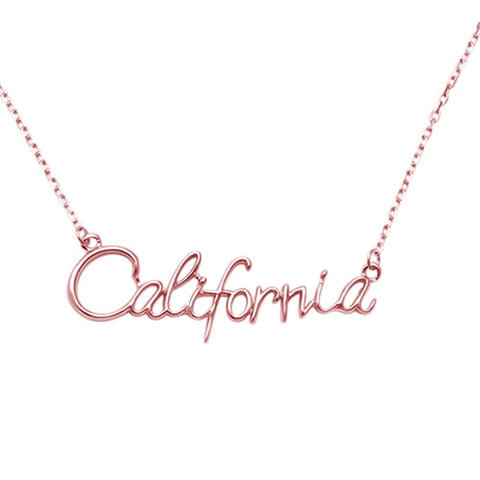 "Rose Gold Plated California .925 Sterling Silver Necklace 14"" Ext 1.75"""