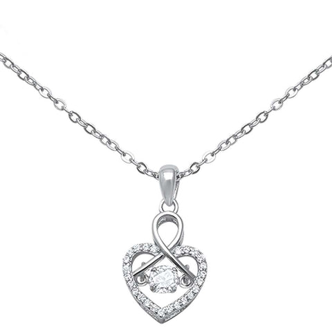 """Dancing"" Cubic Zirconia Heart .925 Sterling Silver Pendant Necklace 16""+1"" Ext"