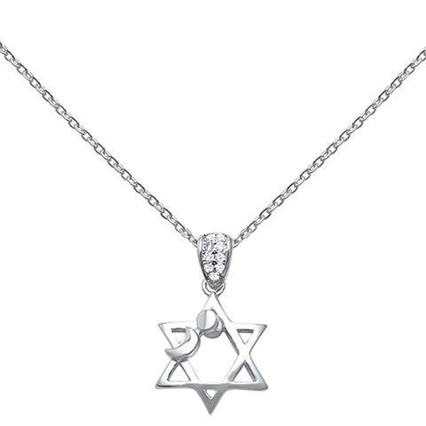 "Sun Moon Star of David Cubic Zirconia .925 Sterling Silver Pendant Necklace 16""+1"" Ext"