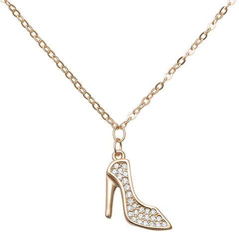 "Trendy High Heel Cubic Zirconia .925 Sterling Silver Pendant Necklace 16""+1"" Ext"