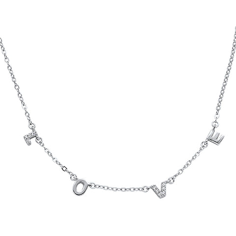 Cubic Zirconia Love Design  .925 Sterling Silver Necklace