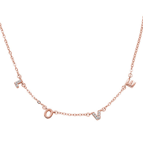Rose Gold Plated Cubic Zirconia Love Design .925 Sterling Silver Necklace