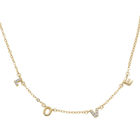 Yellow Gold Plated Cubic Zirconia Love Design .925 Sterling Silver Necklace