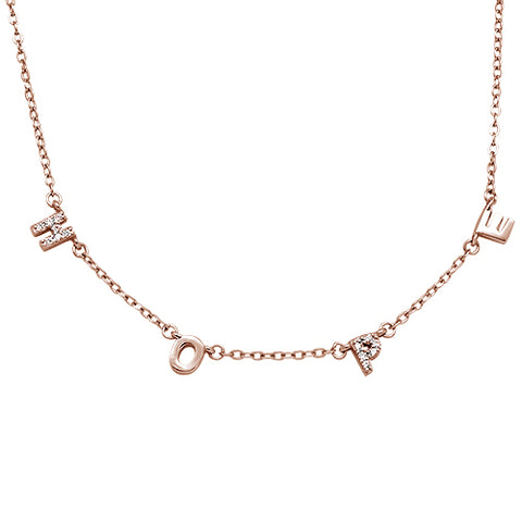 Rose Gold Plated Cubic Zirconia Hope .925 Sterling Silver Necklace