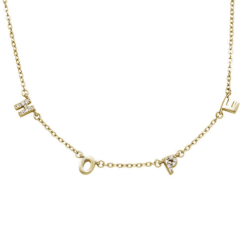 Yellow Gold Plated Cubic Zirconia Hope .925 Sterling Silver Necklace