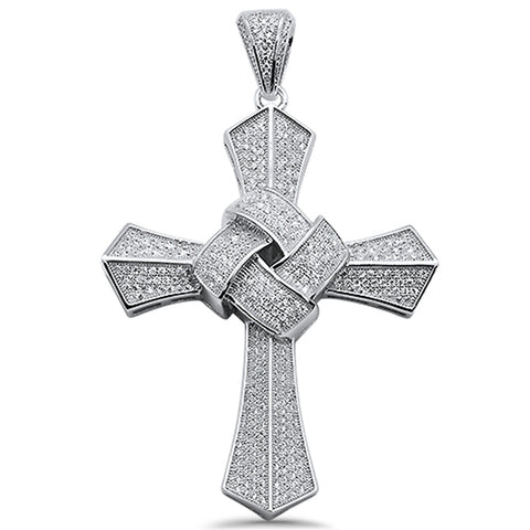 "3"" Micro Pave Cubic Zirconia Cross .925 Sterling Silver Pendant"