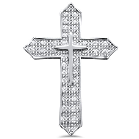 "2.25"" Micro Pave Cubic Zirconia Cross .925 Sterling Silver Pendant"