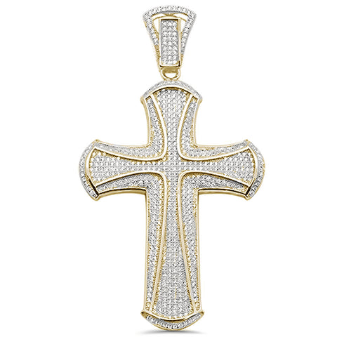 "3"" Yellow Gold Plated Micro Pave Cubic Zirconia  Cross .925 Sterling Silver Pendant"