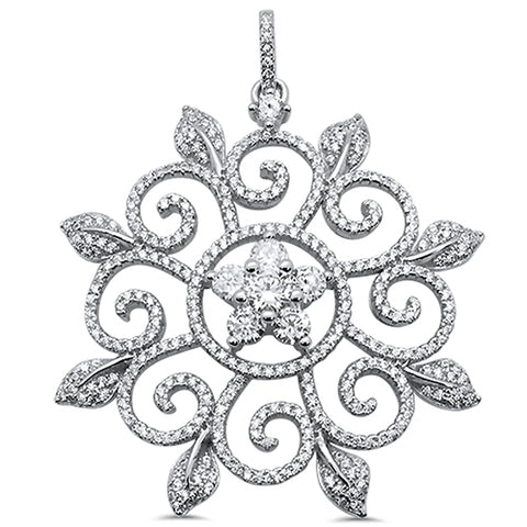 <span>CLOSEOUT!</span> Elegant Flower Design Cubic Zirconia .925 Sterling Silver Pendant