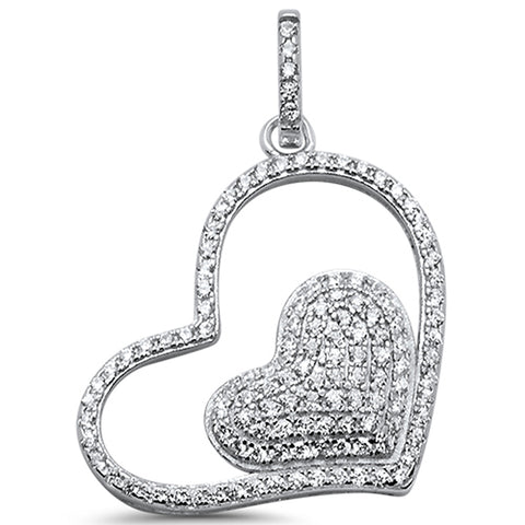 Two Pave Hearts .925 Sterling Silver Pendant