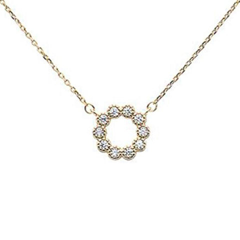 "Yellow Gold Plated Cubic Zirconia Flower Design .925 Sterling Silver Necklace 16""+1.5""ext"