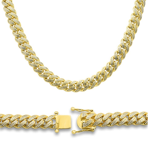 12mm Micro Pave Yellow gold Plated Miami Cuban Cz Heavy Necklace Chain .925 Sterling Silver 26""