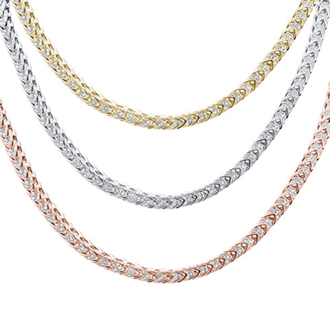 "Mens Micro Pave Iced Franco Cubic Zirconia .925 Sterling Silver Necklace 26"" Colors Available!"
