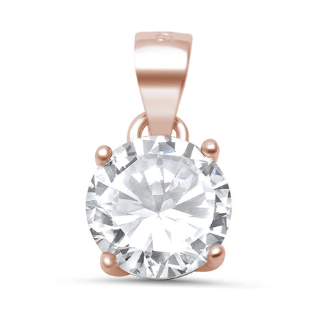 Rose Gold Plated Round Halo .925 Sterling Silver Pendant