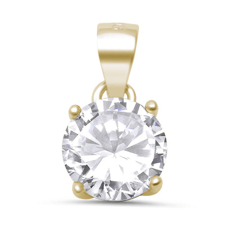 Yellow Gold Plated Round Halo .925 Sterling Silver Pendant