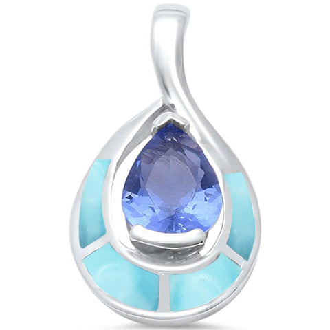 Natural Larimar & Tanzanite .925 Sterling Silver Pendant