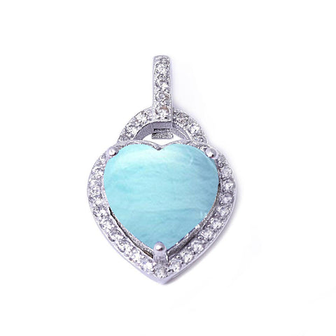 Natural Larimar & Cubic Zirconia Heart .925 Sterling Silver Pendant