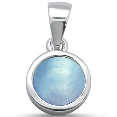 Round Natural Larimar .925 Sterling Silver Pendant