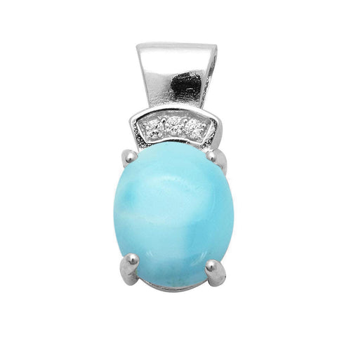 Natural Larimar Oval Shape & Cz .925 Sterling Silver Pendant