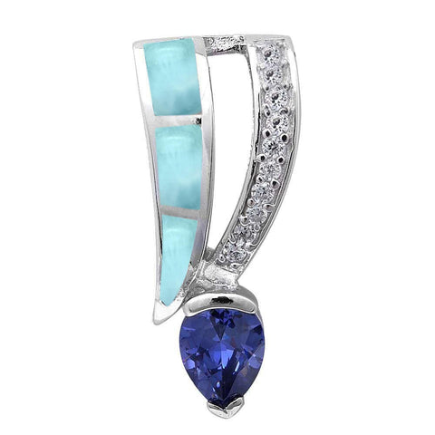 Natural Larimar, Tanzanite & Cz .925 Sterling Silver Pendant