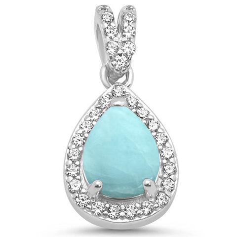 Pear Natural Larimar & CZ .925 Sterling Silver Pendant
