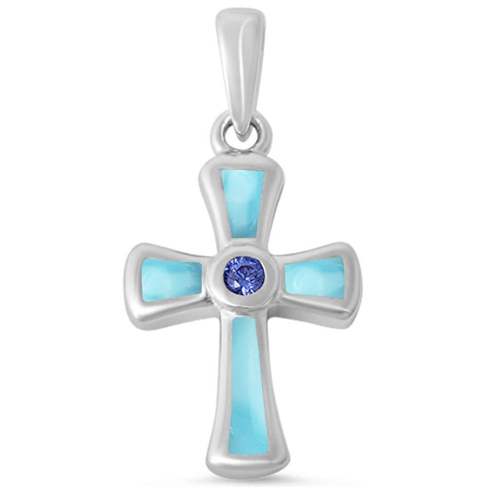 Round Tanzanite & Natural Larimar Cross .925 Sterling Silver Pendant