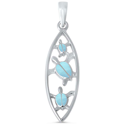 Natural Larimar Turtle .925 Sterling Silver Pendant