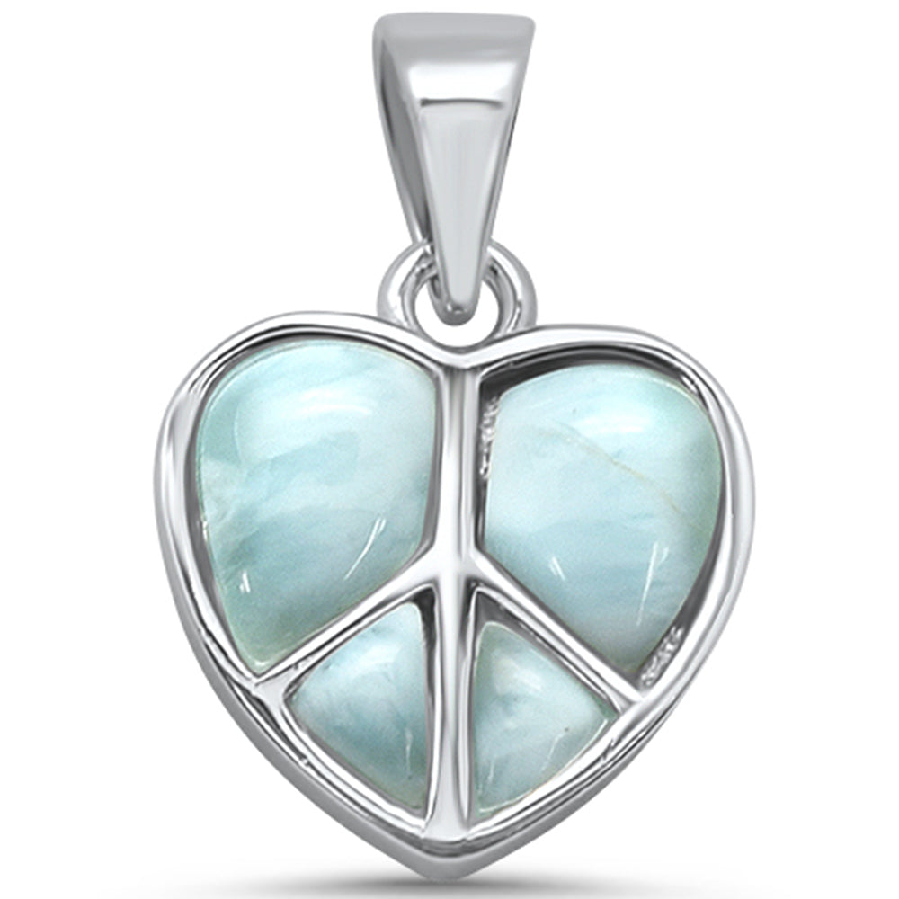 Natural Larimar Heart .925 Sterling Silver Charm Pendant