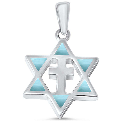 Natural Larimar Star of David with Cross .925 Sterling Silver Pendant