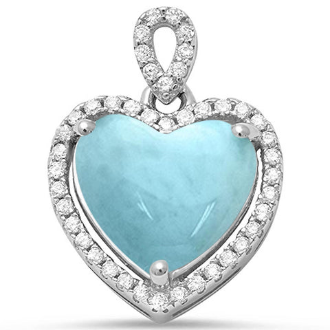 Natural Larimar & Cz Heart Charm .925 Sterling Silver Pendant