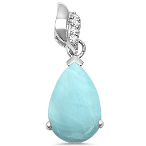 Natural Larimar Pear Shape  & Cubic Zirconia .925 Sterling Silver Pendant