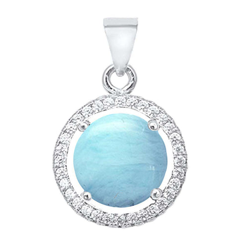 Round Natural Larimar & Cubic Zirconia .925 Sterling Silver Halo Pendant